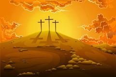 Calvary Crucifixion. Easy to edit vector illustration of calvary crucifixion with three crosses stock illustration
