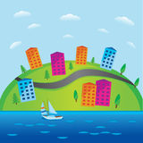 Easy to edit vector illustration of cityscape made f paper. Easy to edit vector illustration of cityscape Stock Image