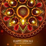 Illustration of decorated diya for Happy Diwali holiday background vector illustration