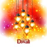 Illustration of decorated diya for Happy Diwali holiday background royalty free illustration