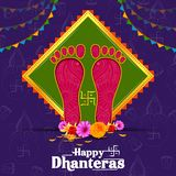Illustration of decorated Happy Dhanteras Diwali holiday background vector illustration