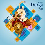 Happy Durga Puja India festival holiday background. Easy to edit vector illustration of drummer with dhak for Happy Durga Puja India festival holiday background Stock Photos