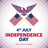 Easy to edit vector illustration of eagle with American flag for Independence day Stock Images