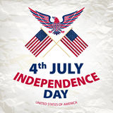 Easy to edit vector illustration of eagle with American flag for Independence day Royalty Free Stock Photography