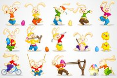 Easter Bunny. Easy to edit vector illustration of Easter bunny in different pose stock illustration