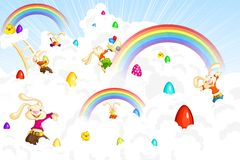 Easter Bunny jumping on cloud Royalty Free Stock Photo