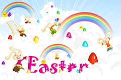 Easter Bunny jumping on cloud Royalty Free Stock Images