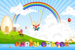 Easter Bunny jumping on cloud Stock Images