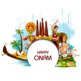 Happy Onam holiday for South India festival background. Easy to edit vector illustration of Happy Onam holiday for South India festival background royalty free illustration