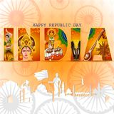 Happy Republic Day of India tricolor background for 26 January. Easy to edit vector illustration of Happy Republic Day of India tricolor background for 26 royalty free illustration