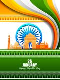 Happy Republic Day of India tricolor famous monument background for 26 January. Easy to edit vector illustration of Happy Republic Day of India tricolor famous Stock Photo