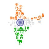 Indian Map with Cultural Object Royalty Free Stock Photos