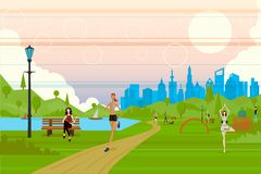Jogging Lady. Easy to edit vector illustration of jogging lady Stock Photography