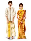 Keralite wedding couple in traditional costume of Kerala, India. Easy to edit vector illustration of Keralite wedding couple in traditional costume of Kerala Royalty Free Stock Photo