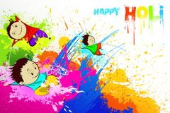 Kids enjoying Holi Stock Photos