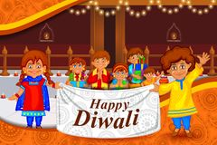 Kids wishing Diwali background with message meaning Happy Deepawali. Easy to edit vector illustration of kids wishing Diwali background with message meaning stock illustration