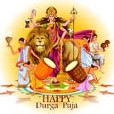 Happy Durga Puja India festival holiday background. Easy to edit vector illustration of ladies dancing with dhunuchi for Happy Durga Puja India festival holiday Royalty Free Stock Images