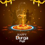 Happy Durga Puja India festival holiday background. Easy to edit vector illustration of ladies dancing with dhunuchi for Happy Durga Puja India festival holiday Stock Image