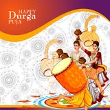 Happy Durga Puja India festival holiday background. Easy to edit vector illustration of ladies dancing with dhunuchi for Happy Durga Puja India festival holiday Royalty Free Stock Image