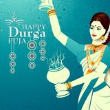 Happy Durga Puja India festival holiday background. Easy to edit vector illustration of ladies dancing with dhunuchi for Happy Durga Puja India festival holiday Stock Images