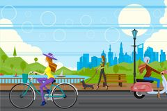 Urban City. Easy to edit vector illustration of lady in urban city Royalty Free Stock Images