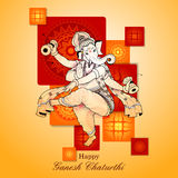 Lord Ganpati on Ganesh Chaturthi background. Easy to edit vector illustration of Lord Ganpati on Ganesh Chaturthi background vector illustration