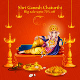 Lord Ganpati on Ganesh Chaturthi sale promotion advertisement background. Easy to edit vector illustration of Lord Ganpati on Ganesh Chaturthi sale promotion royalty free illustration