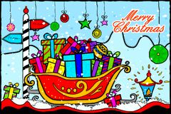 Merry Christmas and Happy New Year Holiday greetings background. Easy to edit vector illustration of Merry Christmas and Happy New Year Holiday greetings Stock Image