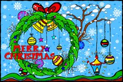 Merry Christmas and Happy New Year Holiday greetings background Stock Photos