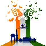 Monument and Landmark of India on Indian Republic Day celebration background Stock Image