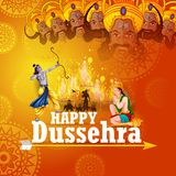 Happy Dussehra background showing festival of India. Easy to edit vector illustration of Rama killing Ravana in Happy Dussehra background showing festival of Stock Photos