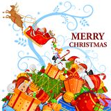 Santa Claus with gift for Merry Christmas holiday. Easy to edit vector illustration of Santa Claus with gift for Merry Christmas holiday celebration Stock Photography