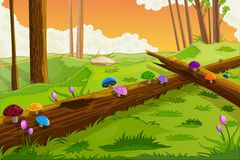 Scenic Beauty of Fairy Tale. Easy to edit vector illustration of scenic beauty of fairy tale with colorful mushroom Stock Images