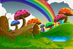 Scenic Beauty of Fairy Tale. Easy to edit vector illustration of scenic beauty of fairy tale with colorful mushroom Stock Photography