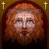 Stained Glass Painting of Jesus Christ. Easy to edit vector illustration of stained glass painting of Jesus Christ royalty free illustration