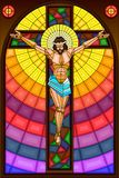 Stained Glass Painting of Crucifixion Royalty Free Stock Photos