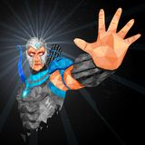 Superhero in abstract low poly polygon style Stock Photography