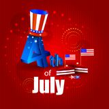 4th July, Independence day of America. Easy to edit vector illustration of 4th July, Independence day of America Royalty Free Stock Images