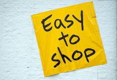 Easy To Shop. Large Display Sign Stock Images