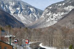 Easy way Gondola lift at Stowe Ski Resort in Vermont, view to the Notch mountain path