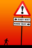Easy way, hard way. Choosing between the easy way and the hard way Royalty Free Stock Images