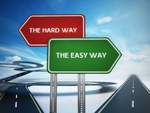 Easy and hard way signboards with curved and straight roads. 3D illustration. The easy way and the hard way signboards with curved and straight roads. 3D Royalty Free Stock Image