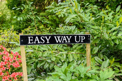 Easy Way Up Sign. A sign in bushes with the words Easy Way Up royalty free stock image