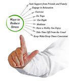 Easy Ways to Reduce Stress. Presenting diagram of  Easy Ways to Reduce Stress Stock Photos
