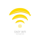 Easy wifi concept icon in banana shape, simple technology concept,  eps 10 illustrated.  Royalty Free Stock Image
