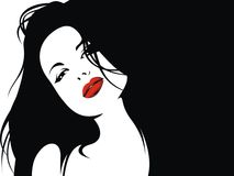 Easy woman face with red lips and black hair Stock Photography