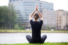 Easy yoga pose on the street royalty free stock photos
