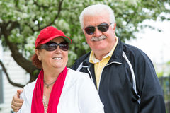 Easygoing Positive Senior Adult Couple in Sports Royalty Free Stock Image