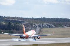 Easyjet,空中客车A320 - 214登陆 免版税库存照片