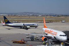 EasyJet. VALENCIA, SPAIN - JUNE 22: British airline Monarch has announced plans to take on Ryanair and EasyJet airlines in the low cost market. A Ryanair and royalty free stock photos